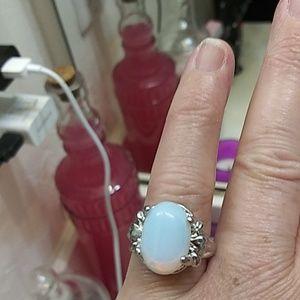 NWOT silver plated opalite ring